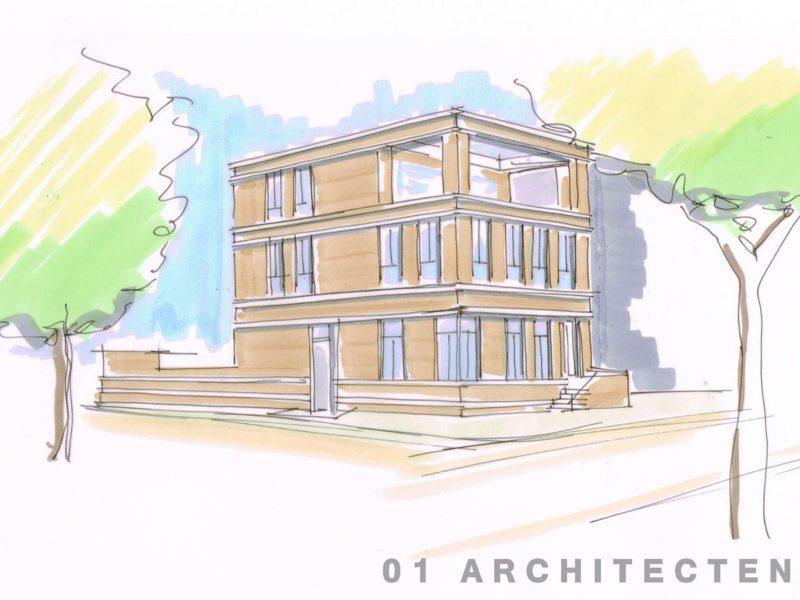 1e schets stadsvilla enschede architect