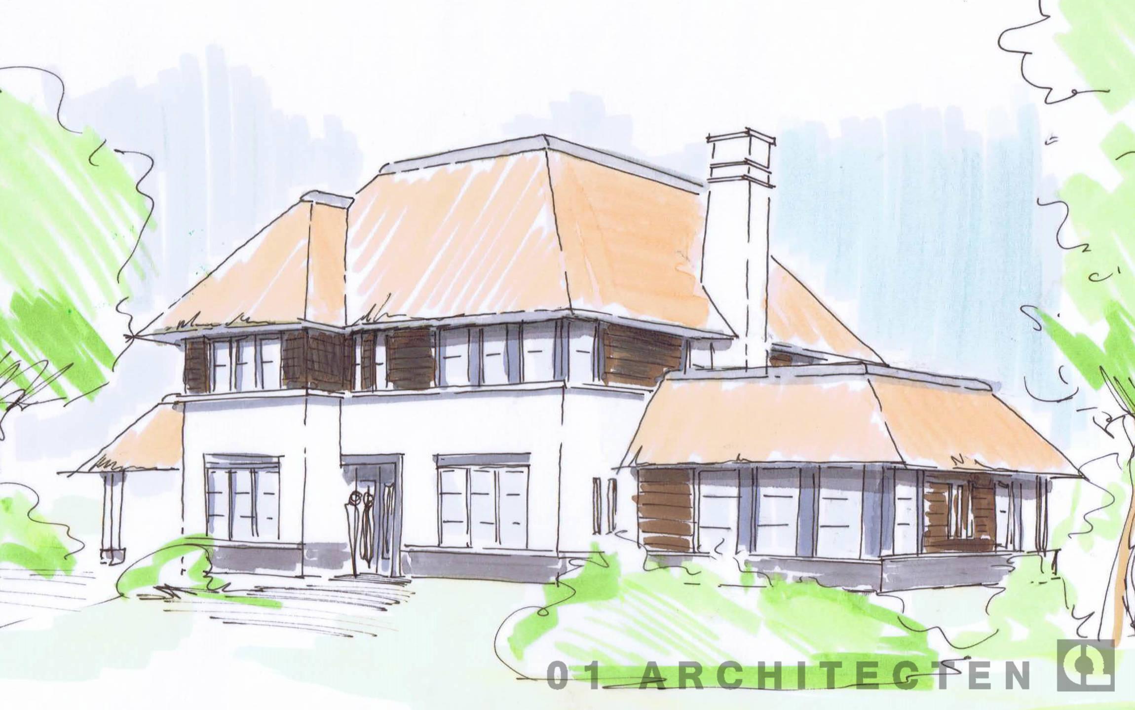 Enschede schetsontwerp witte villa met riet schoorstenen en veranda