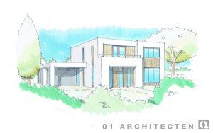 Modern Kubistisch wit stucwerk houten accenten verbouw architect Enschede